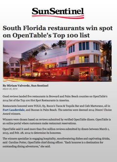 Sun Sentinel - South Florida Restaurants on Open Table